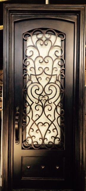 Wrought iron entry doors single door sd38003 3x8 door for Puertas de hierro forjado