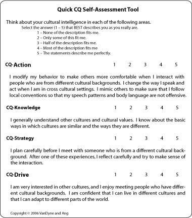 Quick Cq SelfAssessment Tool Cultural Intelligence Center  Self