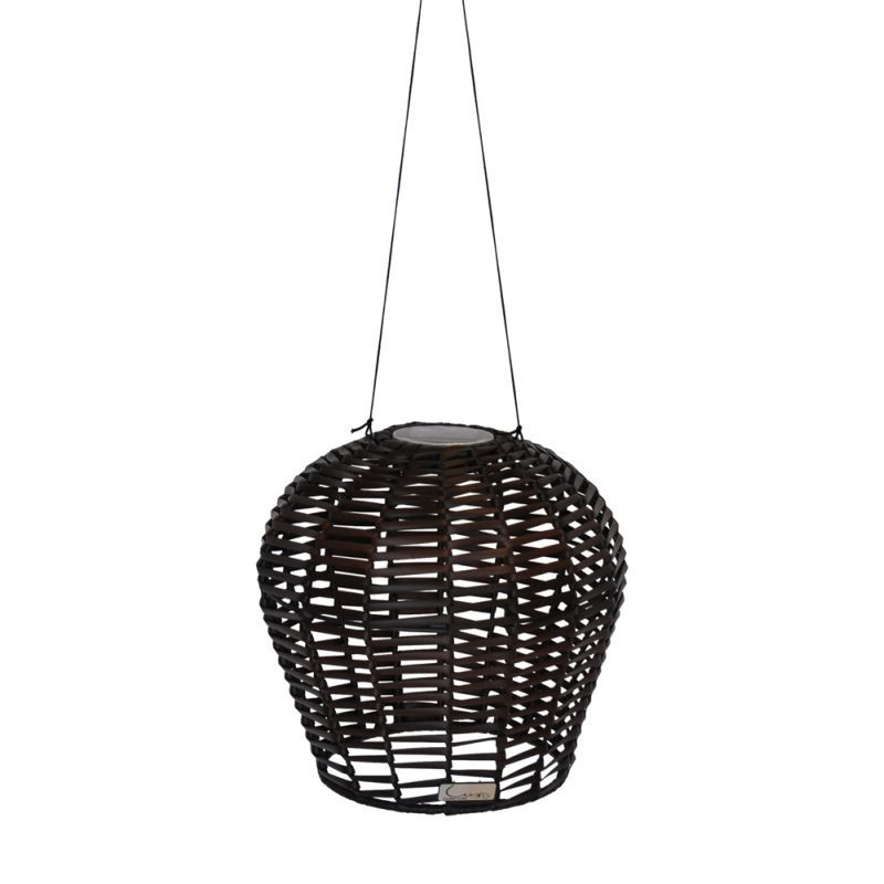 Kiran Solar Outdoor Wicker Pendant Light In Brown