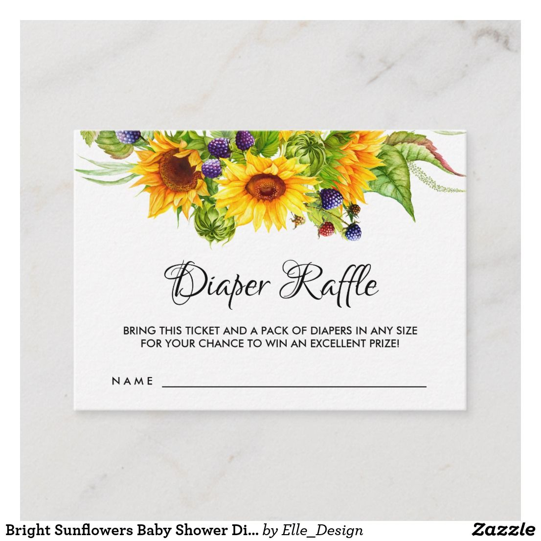 Bright Sunflowers Baby Shower Diaper Raffle Ticket