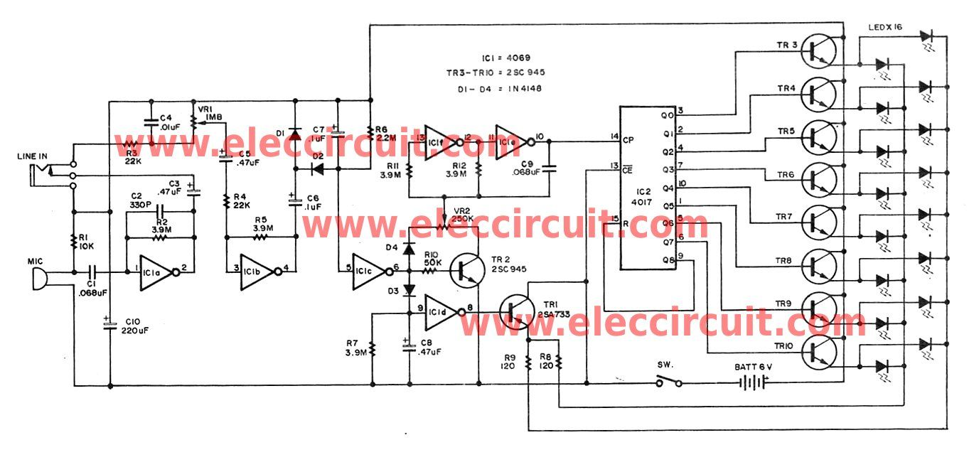 soundcontrolledlamp ledandlightcircuit circuit diagram wiring christmas led flasher circuit controlled by audio electronics soundcontrolledlamp  [ 1377 x 657 Pixel ]