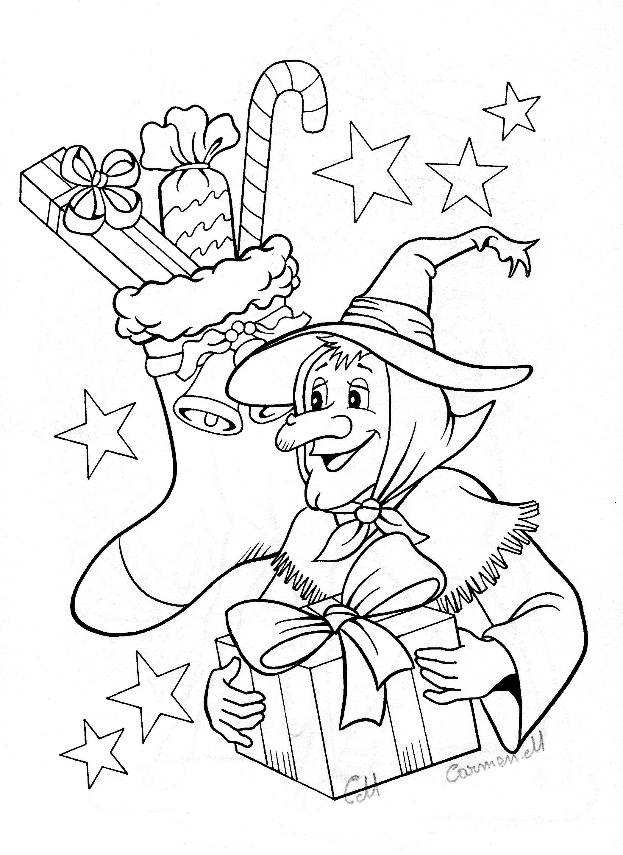 Pin By Laura Ayres On Disegni Natale Witch Coloring Pages Christmas In Italy Christmas Coloring Pages