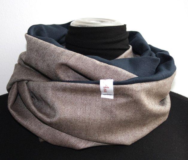 384f9dabec16f3 Schlauchschals - Loop Fischgrät/dunkelblau für den Mann - ein Designerstück  von FrolleinAnne-Anne bei DaWanda
