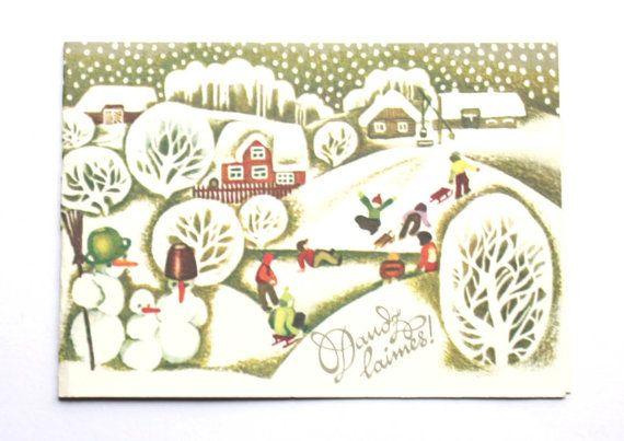 Christmas card postcard from Soviet Union USSR by sovietephemera, $4.00