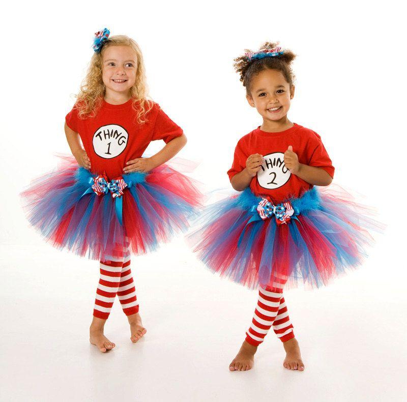 Tutu Skirt - Halloween or Birthday Costume - Red Turquoise - Thing 1 u0026 Thing 2 Set - 12 Month to 2 Toddler Girl. $60.00 via Etsy.  sc 1 st  Pinterest & Tutu Skirt - Halloween or Birthday Costume - Red Turquoise - Thing 1 ...