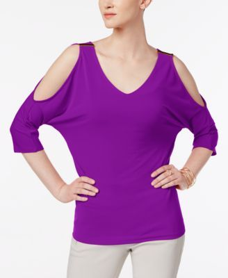 4f1ddbc7c87 INC International Concepts Vivid Purple, Cold-Shoulder Top, Only at Macy's.