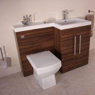 Tabor 120cm Walnut Right Hand Combination Unit Toilet And Sink Unit Bathroom Furniture Vanity Bathroom Furniture