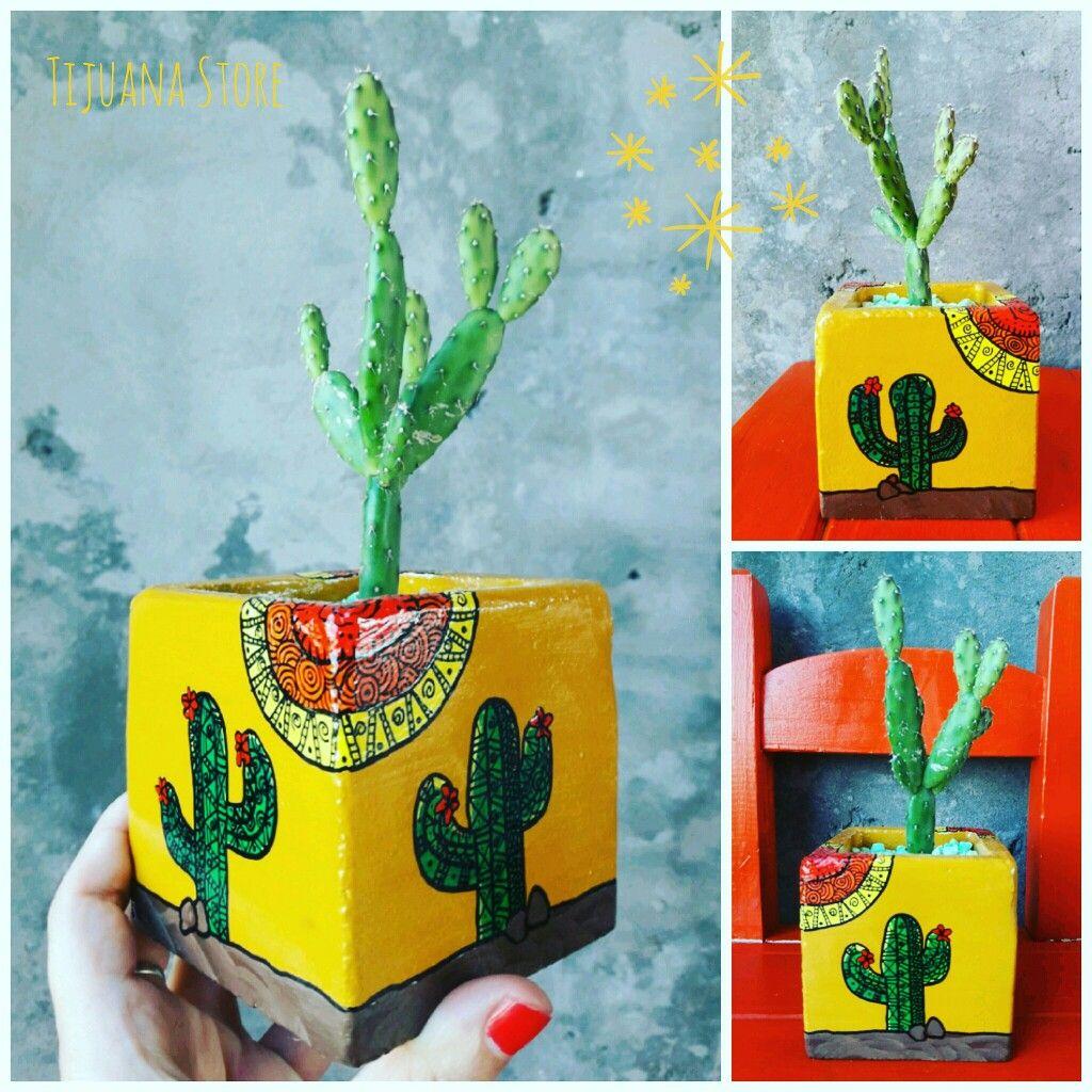 Macetas pintadas cactus vs mandalas by tijuana store - Cactus en macetas pequenas ...