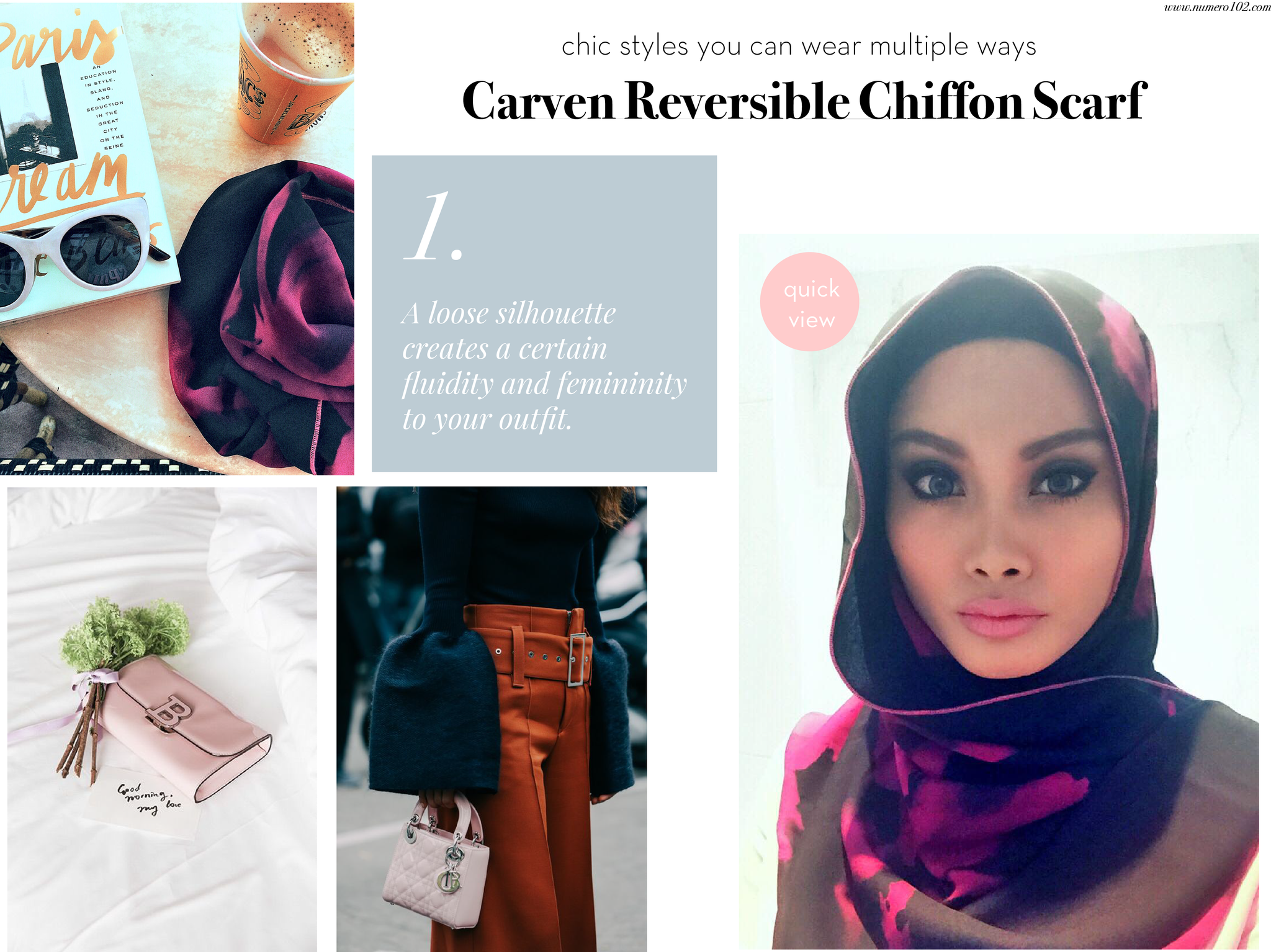StyleMemo : Carven Reversible Chiffon Scarf – Le Journal Numero102
