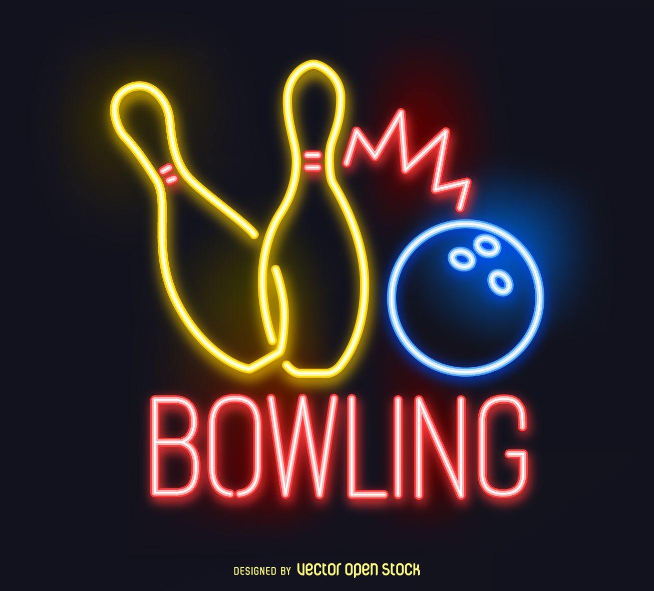 Neon Bowling Sign Free Vector Cool Neon Signs Bowling Neon
