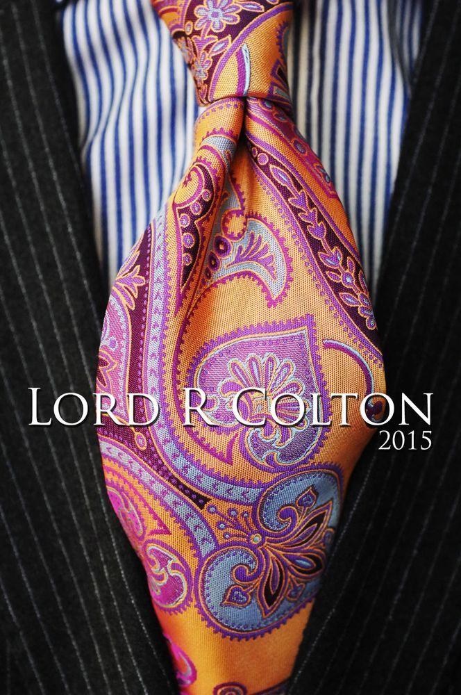 Jacaranda Ruby /& Gold Silk Necktie Lord R Colton Masterworks Tie $195 New