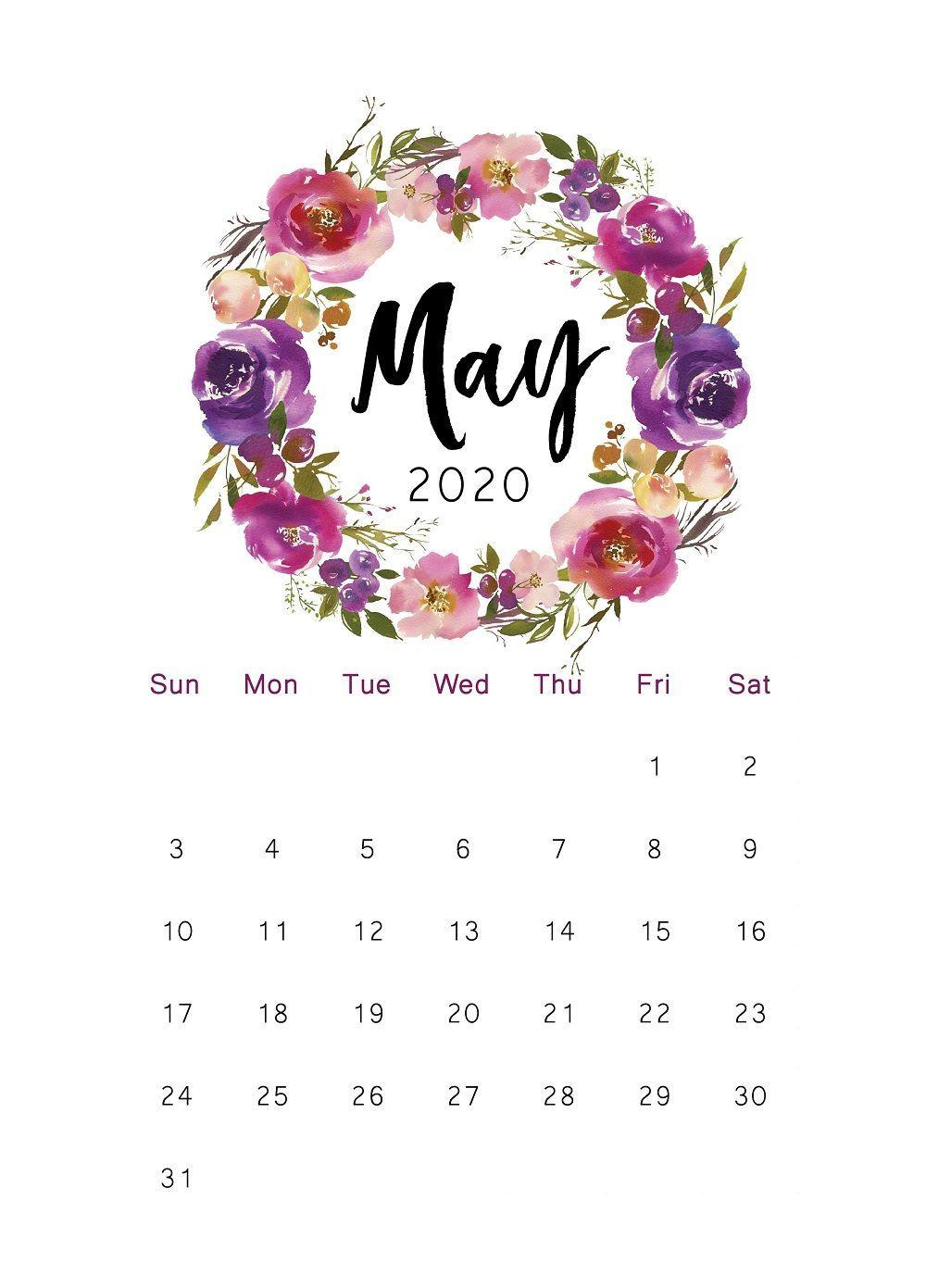 2020 Printable Calendar Floral Watercolor Calendar Letter