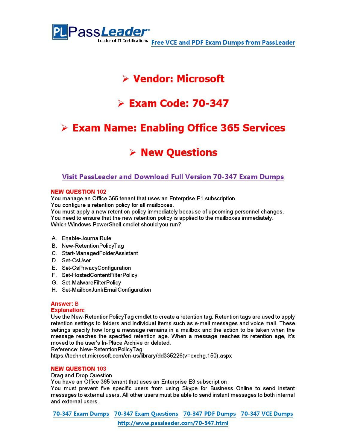 New 70 347 exam dumps with pdf and vce download 102 end 70 new 70 347 exam dumps with pdf and vce download 102 1betcityfo Choice Image
