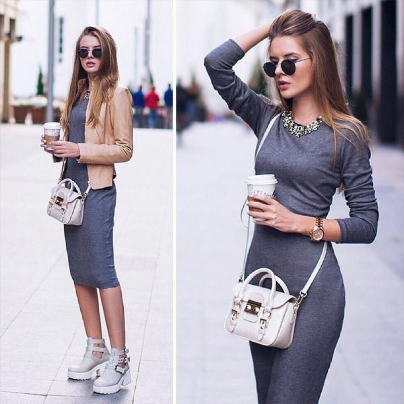 e14b2659aab с чем носить трикотажное платье с длинным рукавом  24 тыс изображений  найдено в Яндекс.Картинках