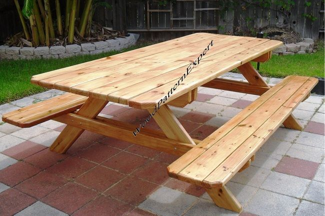 PICNIC TABLE FAMILY SIZE PARK STYLE STANDARD WITH ATTACHED BENCH - Standard picnic table size