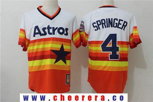 43d7b7dbf Men s Houston Astros  4 George Springer Orange Rainbow Cooperstown Stitched  MLB Majestic Cool Base Jersey