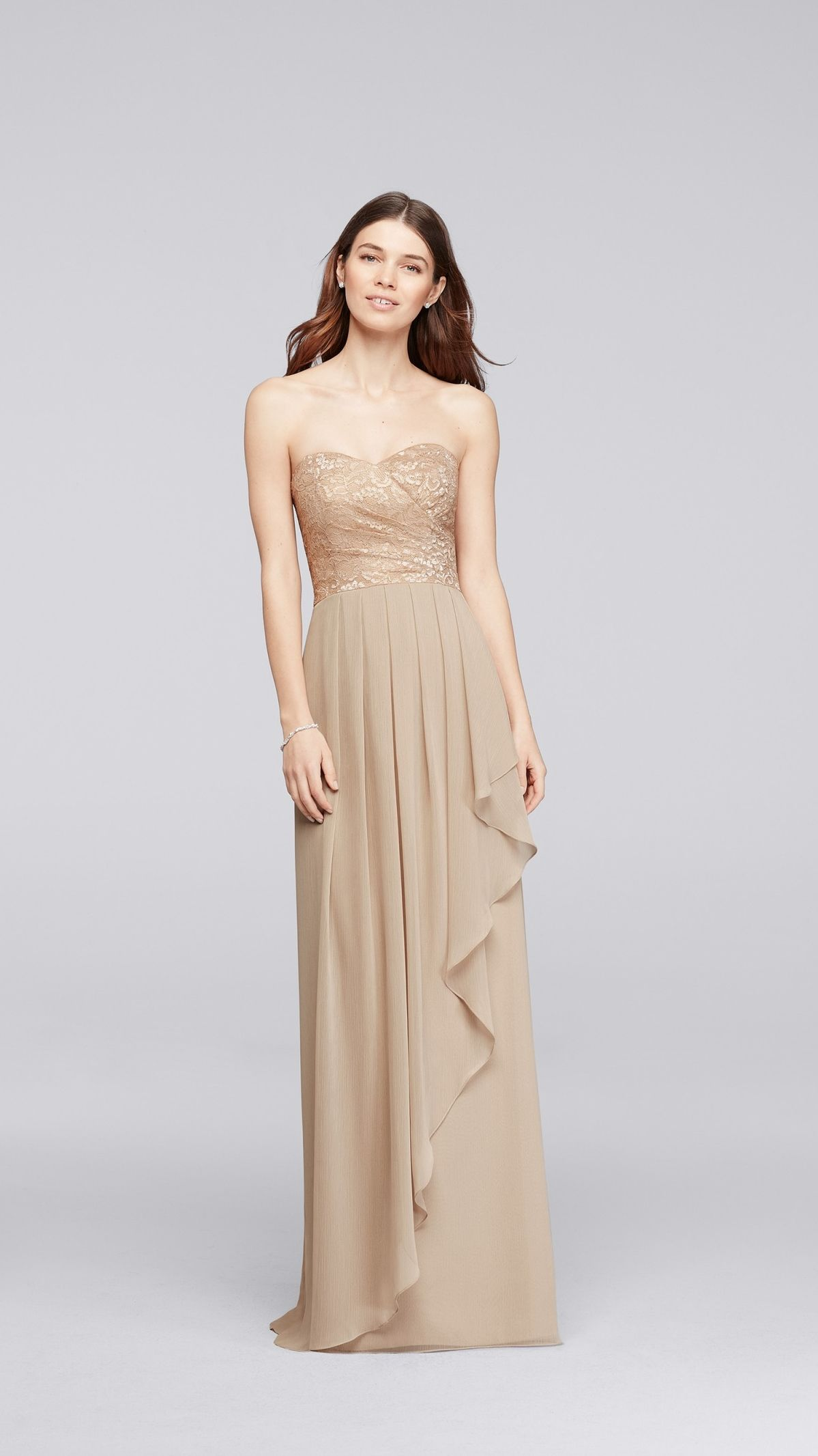 Shimmering gold metallic lace and mesh bridesmaid dress looks