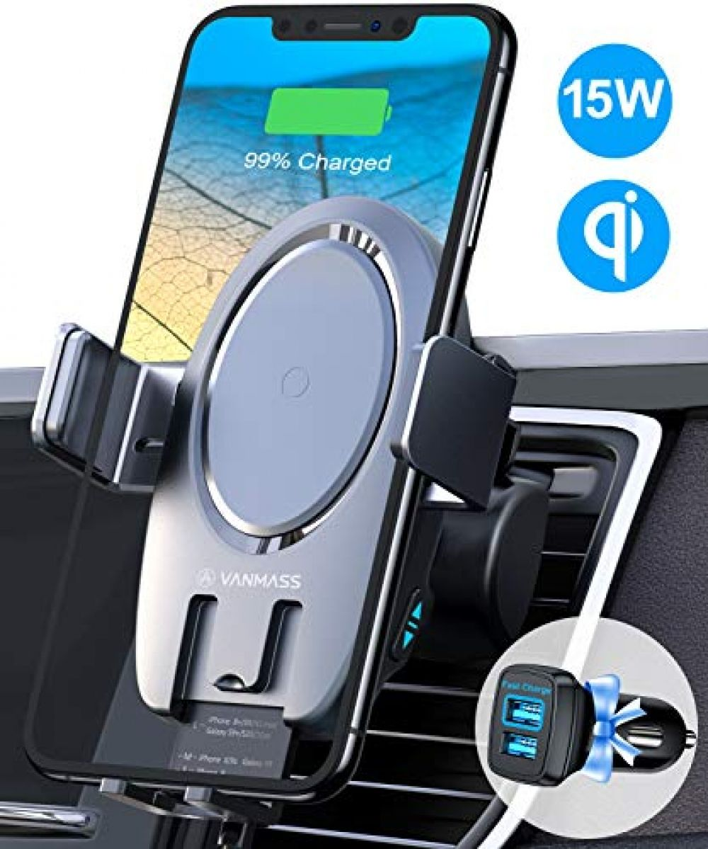 Vanmass 15w Wireless Car Charger Auto Clamping Thermostatic Fast Charging Air Vent Mount Charger For Iphone 12 11 11 In 2020 Charger Car Air Vent Phone Holder Phone Charging