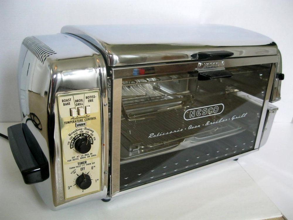 Vintage Nesco N 166 Rotisserie Oven Broiler Grill Atomic Chrome Kitchenware Nescodivisionofthehoovercompany Rotisserie Oven Kitchenware Rotisserie