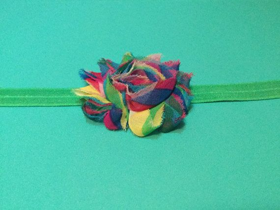Multicolored Striped Shabby Headband by LuvMelsBowtique on Etsy