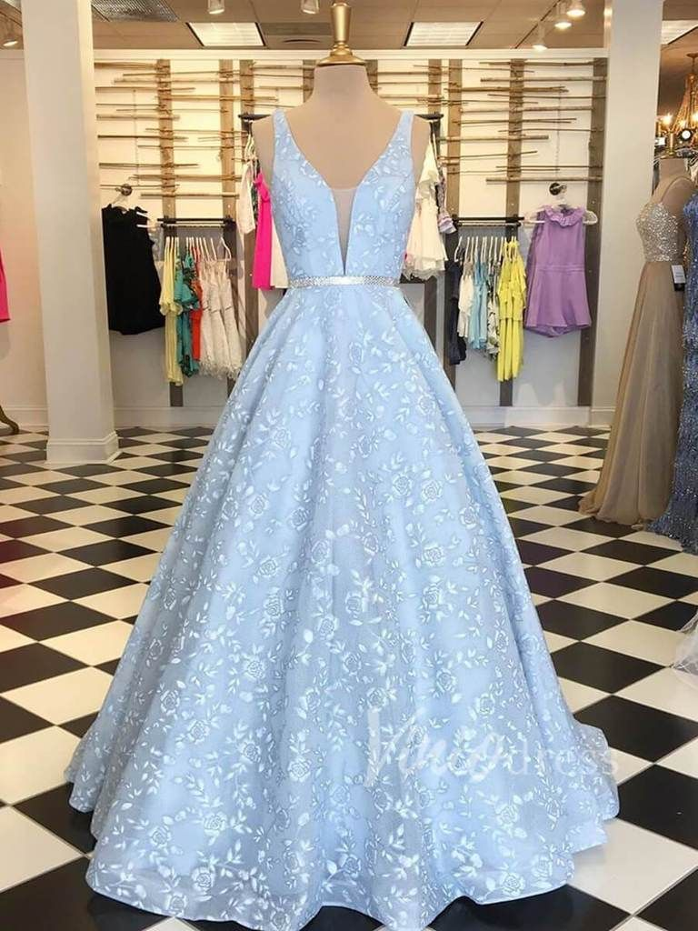 Light Blue Floral Lace Prom Dresses Long Plunging V Neck Gown FD1566 9