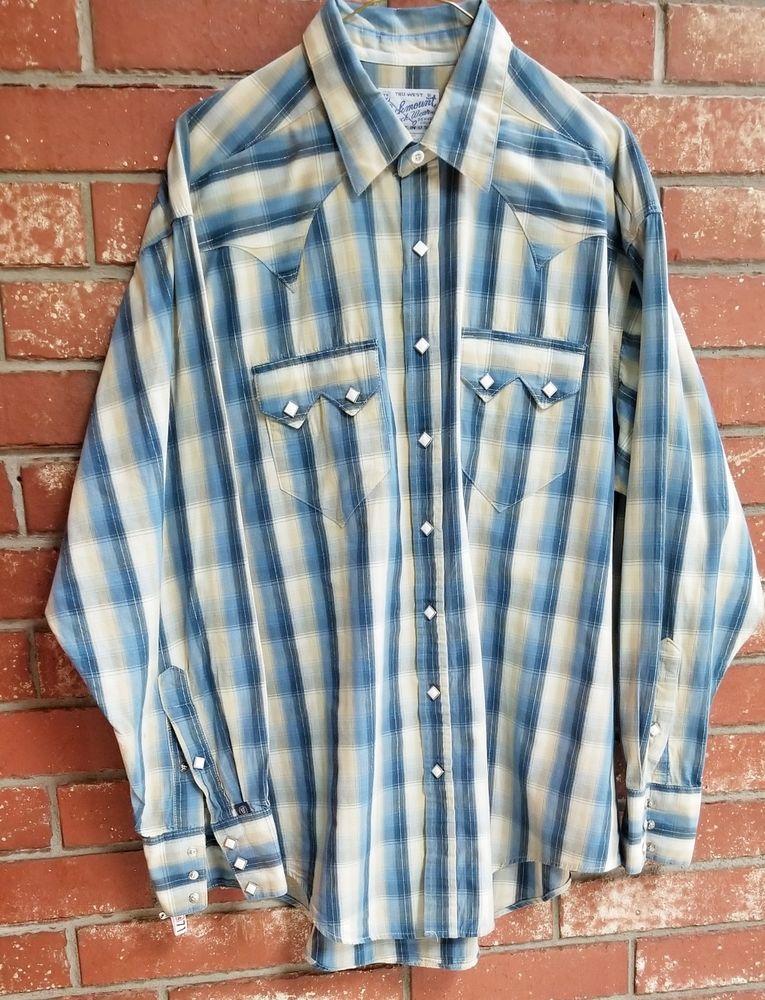 1b4ca0da7e Men s Vtg Rockmount Tru-West Ranch Wear Denim Western Pearl Snap Shirt Large   ROCKMOUNTRanchWear  Western