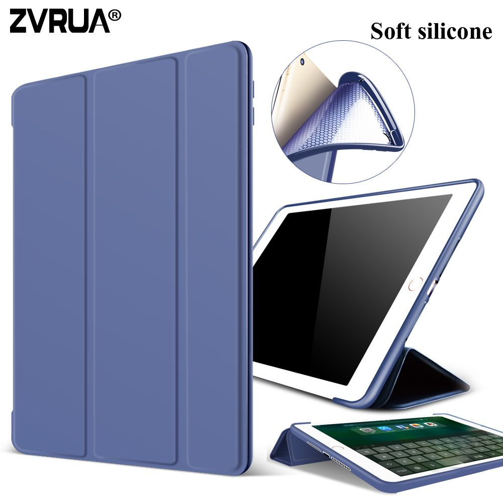 Case For New Ipad Pro 10 5 Inch 2017 Zvrua Soft Silicone Bottompu Leather Smart Cover Auto Sleep For Apple Ipad Pro10 5 New Ipad Ipad Cover New Ipad Pro