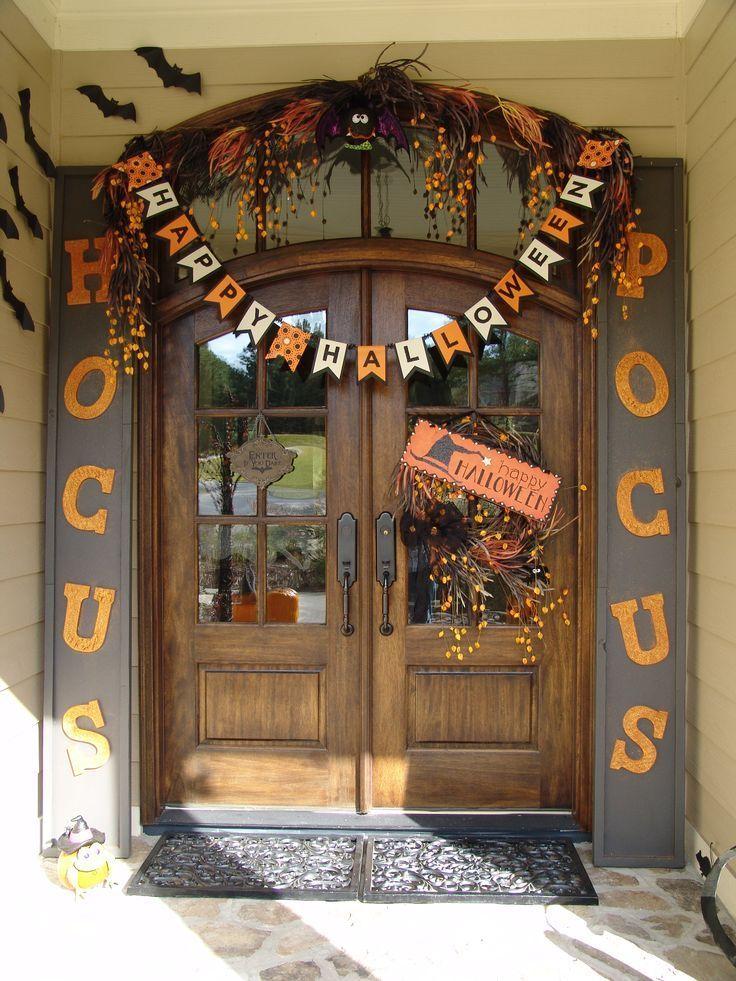 Halloween decorations - front entry door with cute hocus locus theme