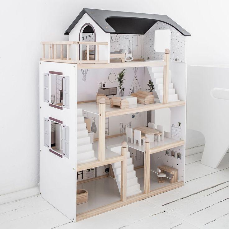 Maison de poupée en bois avec meuble inclus | Col... - #avec #bois #Col #de #en #inclus #maison #meuble #poupée #dollhouse