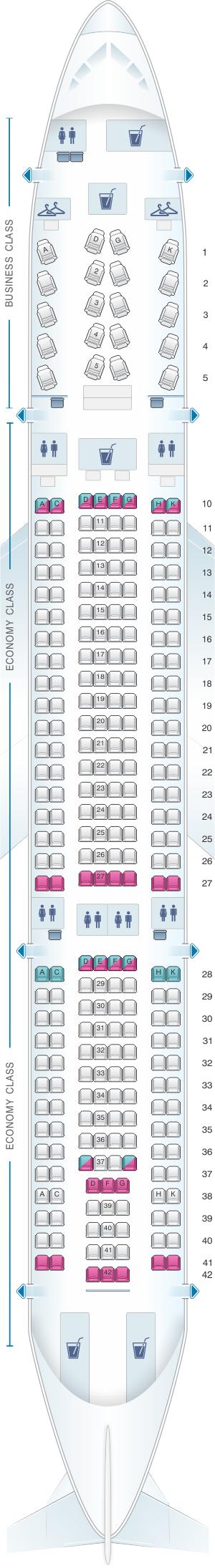 Seat Map Virgin Australia Airbus A330 200 Air transat