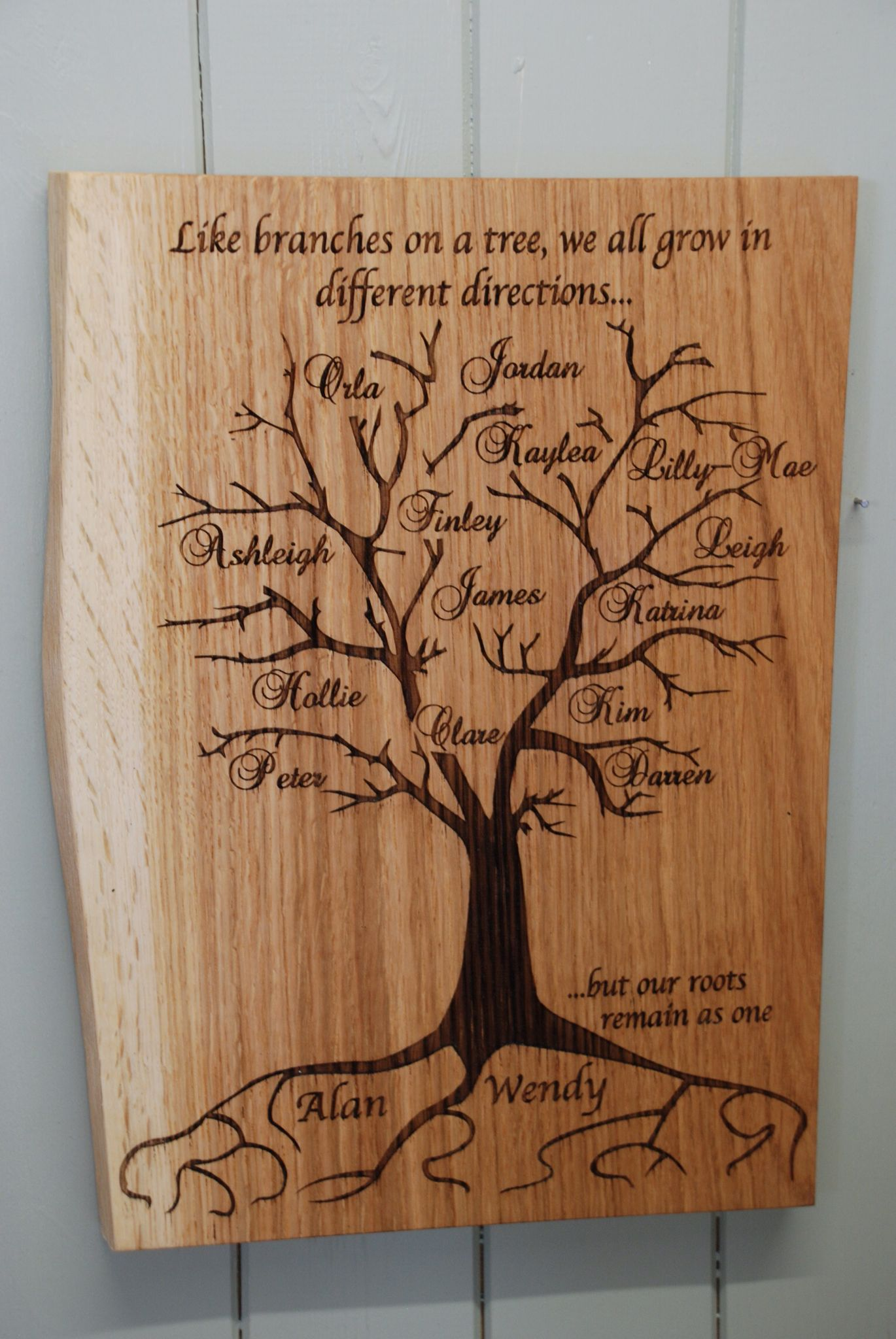 A Fabulous Piece Of Oak Engraved With Your Family Tree Always Makes A Great Gift Prices Wood Burning Patterns Stencil Family Tree Craft Wood Carving Designs