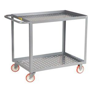 """Shelf Truck, 36x24, Gray, Perforated Deck by Little Giant. $333.98. Perforated Deck CartsNos. 19C185 and 19C186 have 9"""" pneumatic casters (2 rigid, 2 swivel). 19C831 and 19C832 have 5"""" polyurethane casters (2 rigid, 2 swivel w/brake).12-ga. steel shelvesShelf Truck, Lip Up Shelves, Load Capacity 1200 lb., Welded Steel Construction, Gauge Thickness 12, Powder Coat Finish, Color Gray, Overall Length 42 In., Overall Width 24 In., Overall Height 35 In., Number of Shelves 2, Cas..."""