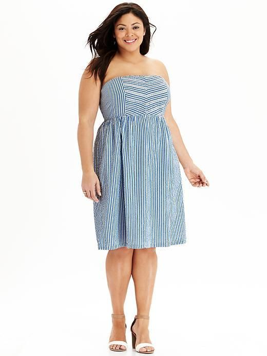 Plus Size Striped Strapless Seersucker Dress Plus Size Fashion
