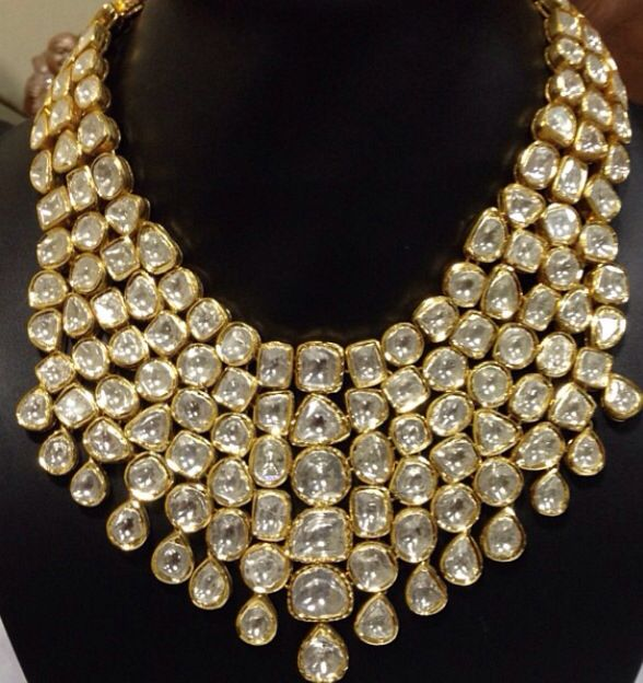 New Necklace Earring Set Gold Polki Jewellery Indian: Polki Bib Necklace Uncut Diamonds Kundan