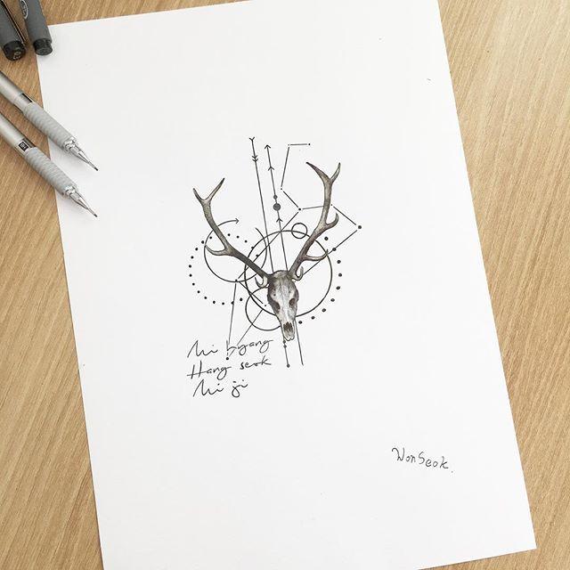 ∥The lion constellation + deer cranium∥사슴뼈와 사자자리∥✨∥ . . . .  #illust #tattoo #design #wonseok #tattooist #leo #tattoos #drawing #pen #illusttattoo #constellationtattoo #geometry #minitattoo #서울 #뼈타투 #타투도안 #사자자리 #미니타투 #대학로 #타투이스트원석 #constellation #일러스트 #linetattoo #별자리타투 #혜화역 #동물타투 #사자자리타투 #사슴타투 #타투