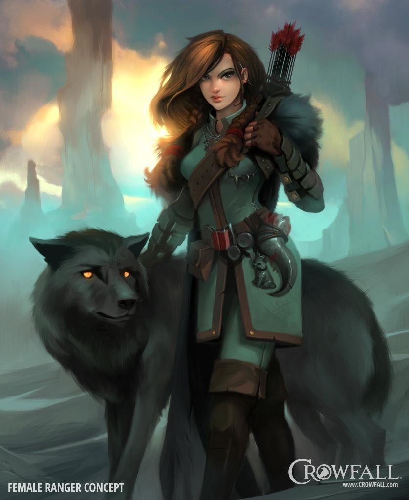 Female Ranger Crowfall Wolves Character Portraits