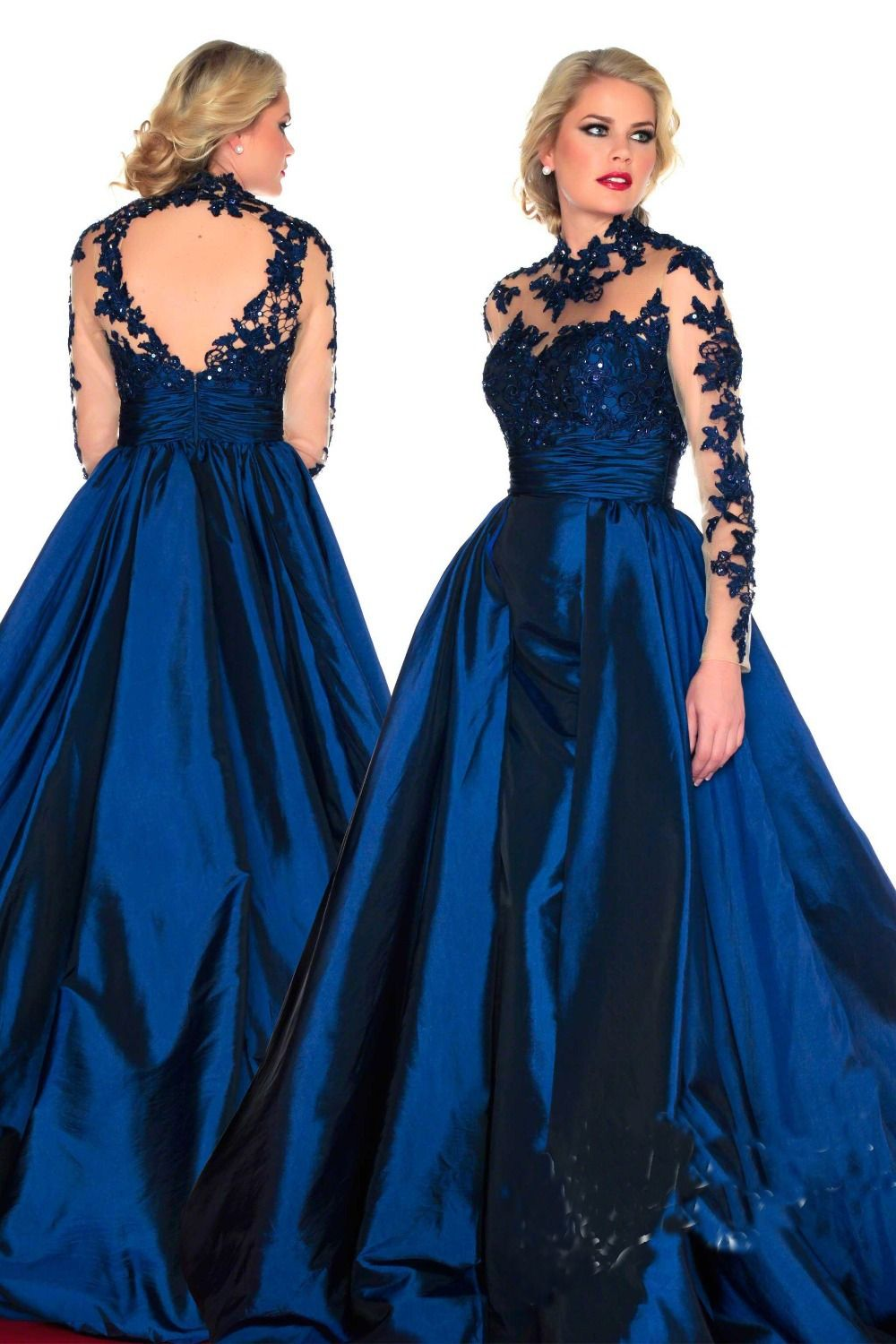 Free Shipping 2014 Long Sleeves Prom Dresses Court Train High Neck ...