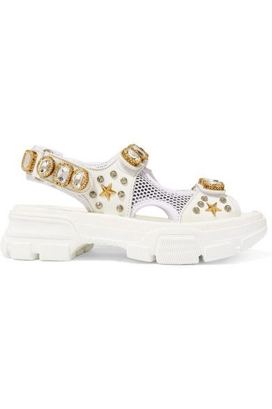 White Embellished Leather And Mesh Sandals Gucci In 2020 Embellished Leather Sandals Leather Platform Sandals Leather Espadrilles