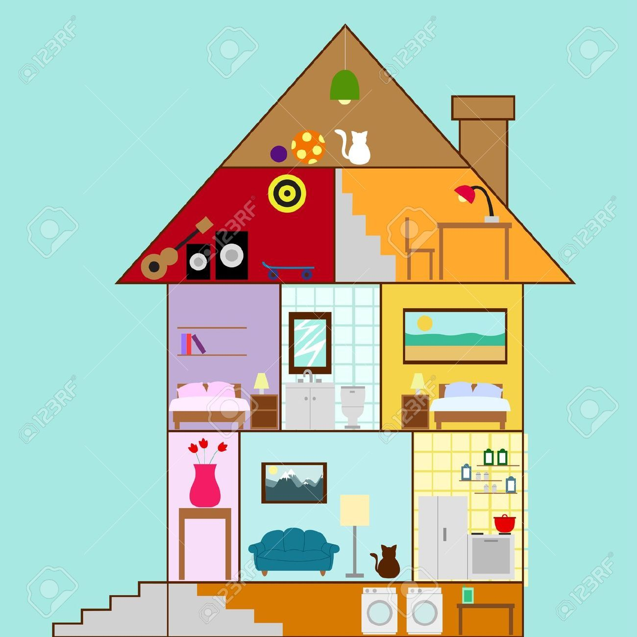House cross section clipart basement house interior in a for Interior house design clipart