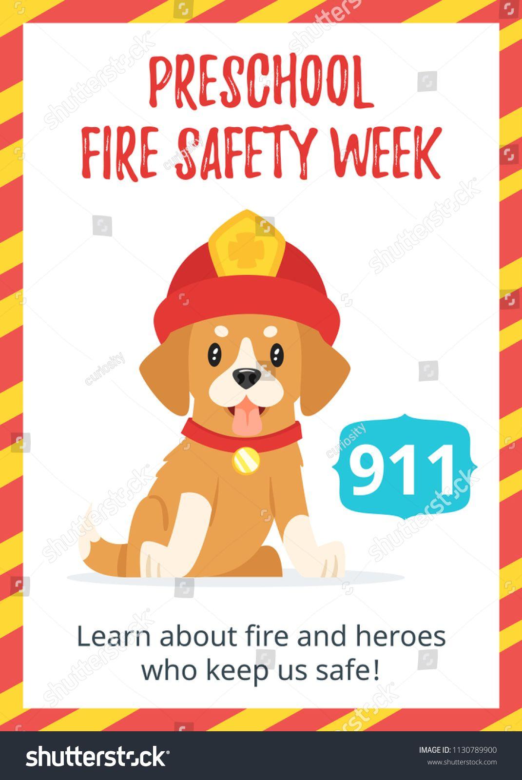 Vector cartoon style template for preschool fire safety