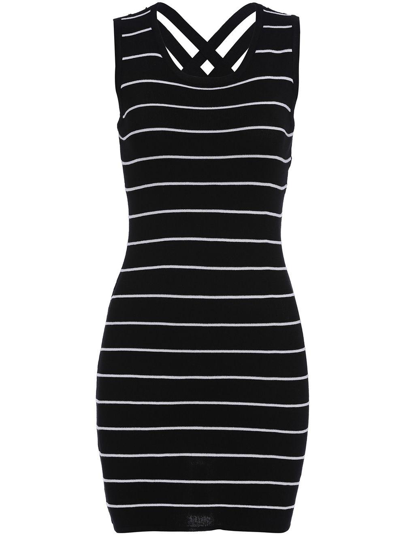 Sleeveless Striped Knit Bodycon Dress