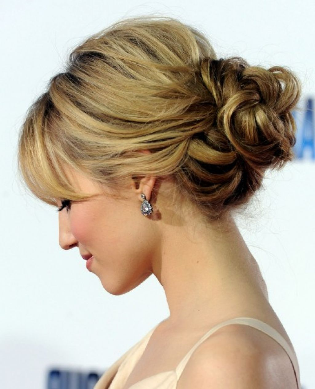 romantic loose low bun updo for wedding from dianna agron