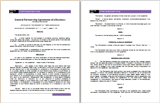 Contract Templates For Word Partnership Agreement Templates  5 Printable Word & Pdf Formats .
