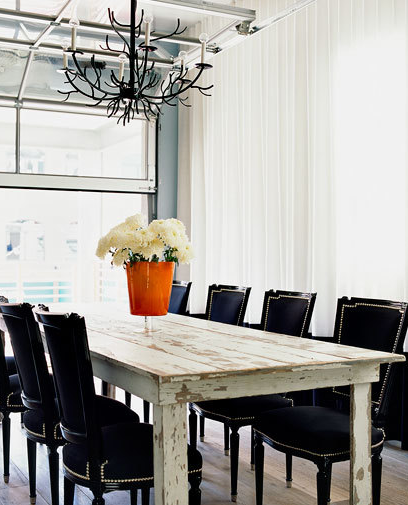 Eclectic Rustic Modern Dining Room Design With White Washed Table Black Velvet Chairs Nail Head Trim Drapes And Iron