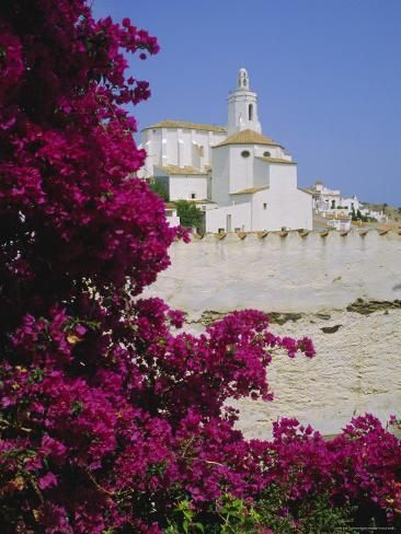 Photographic Print: Church and Bougainvillea Flowers, Cadaques, Costa Brava, Catalonia (Cataluna) (Catalunya), Spain by Ruth Tomlinson : 24x18in