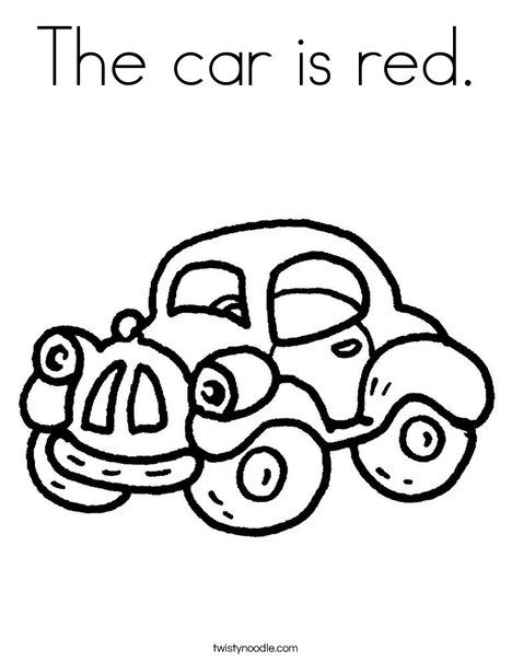 The Car Is Red Coloring Page From Twistynoodle Com Free Coloring