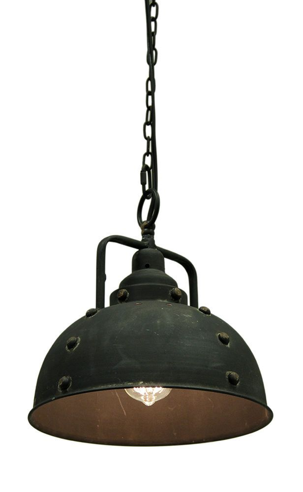 Vintage Industrial Rustic Blackened Metal Farmhouse Pendant Light