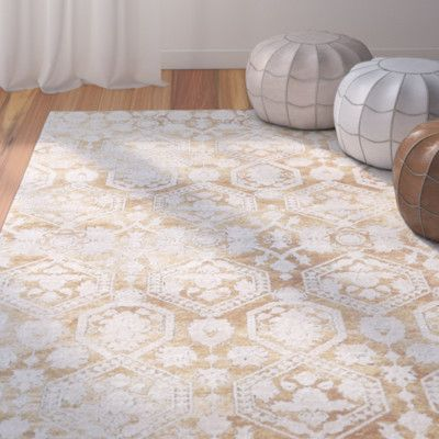 Bungalow Rose Phillipston Traditional Gold Beige Area Rug Rug Size
