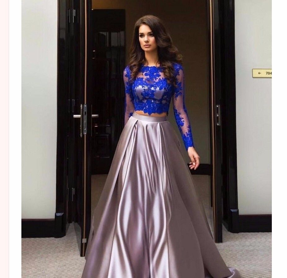 Click to buy ucuc royal blue lace long sleeve two piece prom dresses
