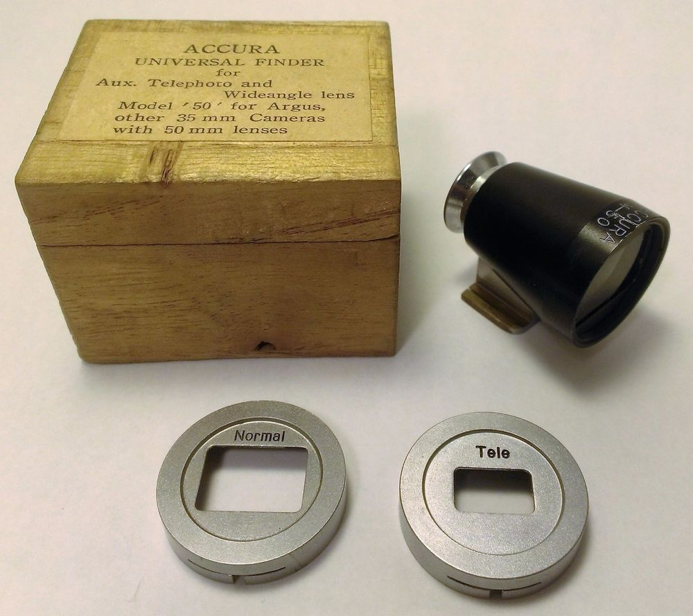 Accura Universal Finder Model 50 Viewfinder for 50mm + Wide + Tele Wood Box #Accura